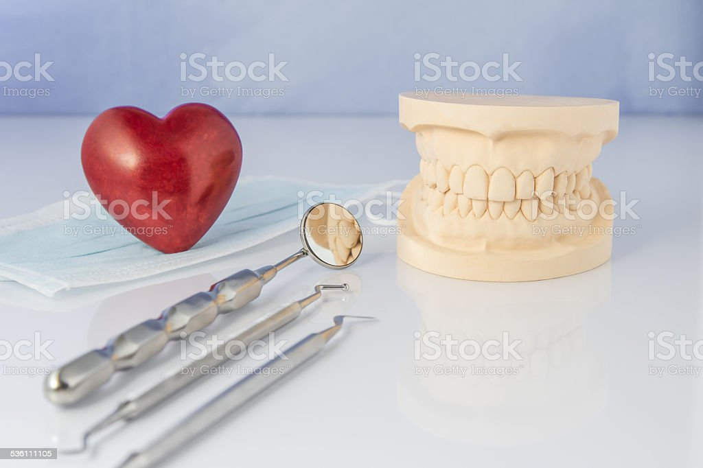 Dental mold with tools of a face mask. stock photo