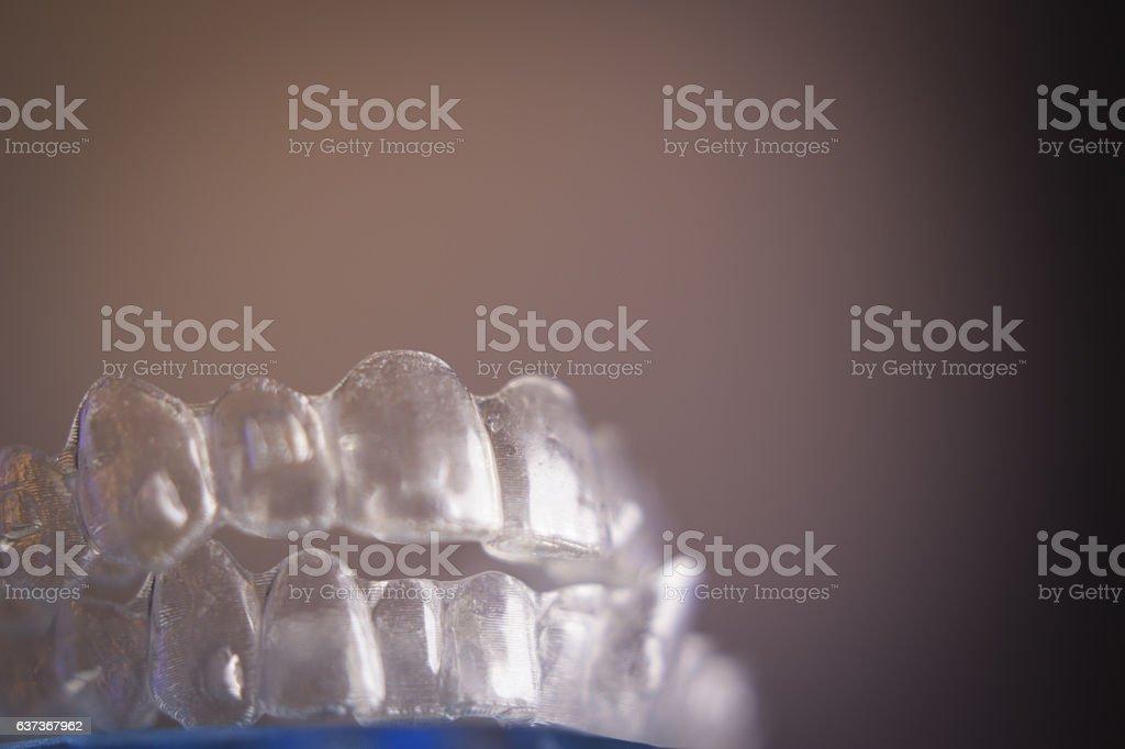 Dental orthodontic invisible teeth correction stock photo