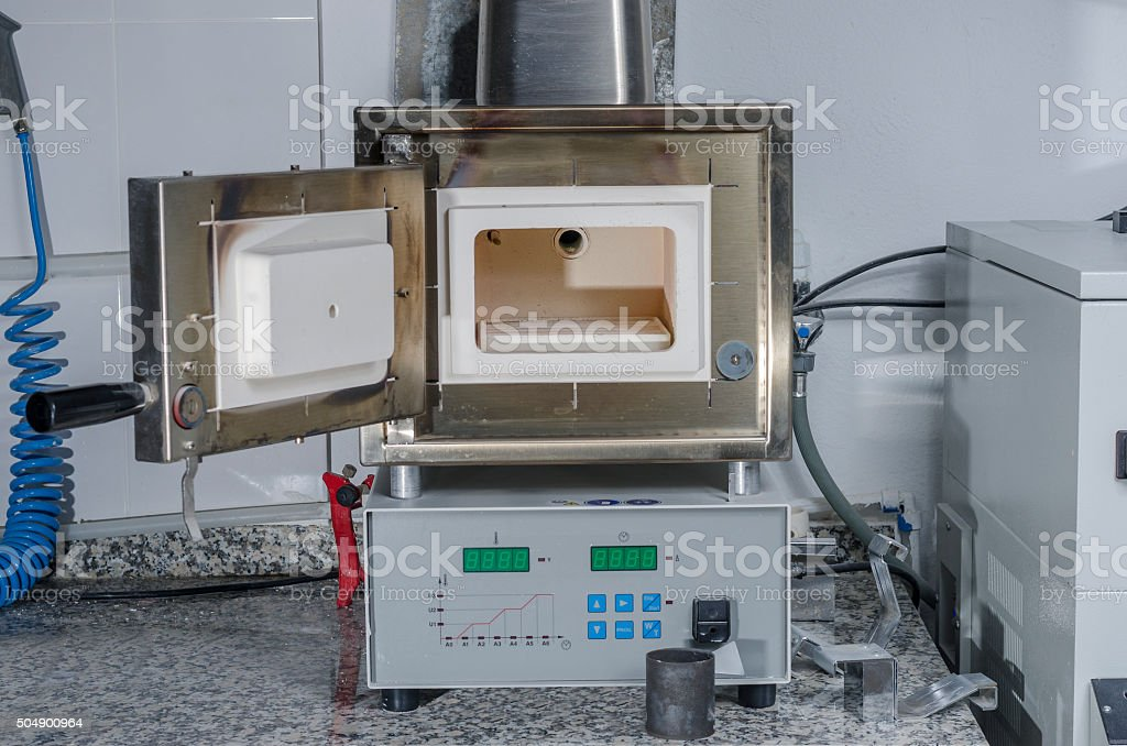 Dental preheating furnace for all kinds of casting molds. stock photo
