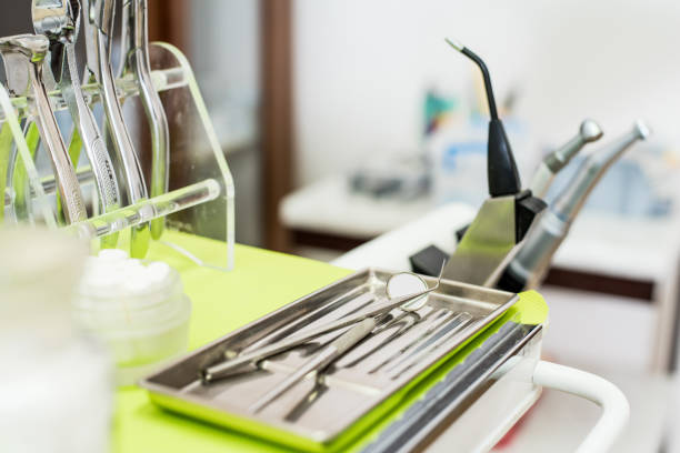 Dental tools Tray with medical tools sterilized and prepared for work suction tube stock pictures, royalty-free photos & images
