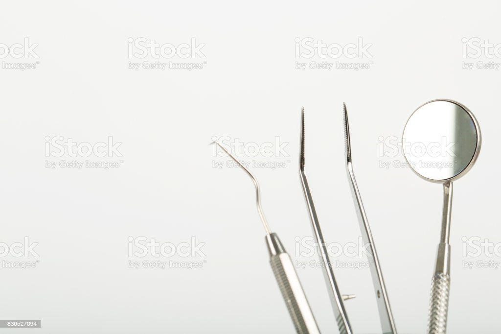 Dental tools stainless steel instrument stock photo