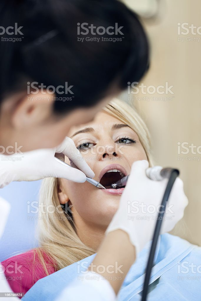 Dental Work on Teen - Teeth Polishing royalty-free stock photo