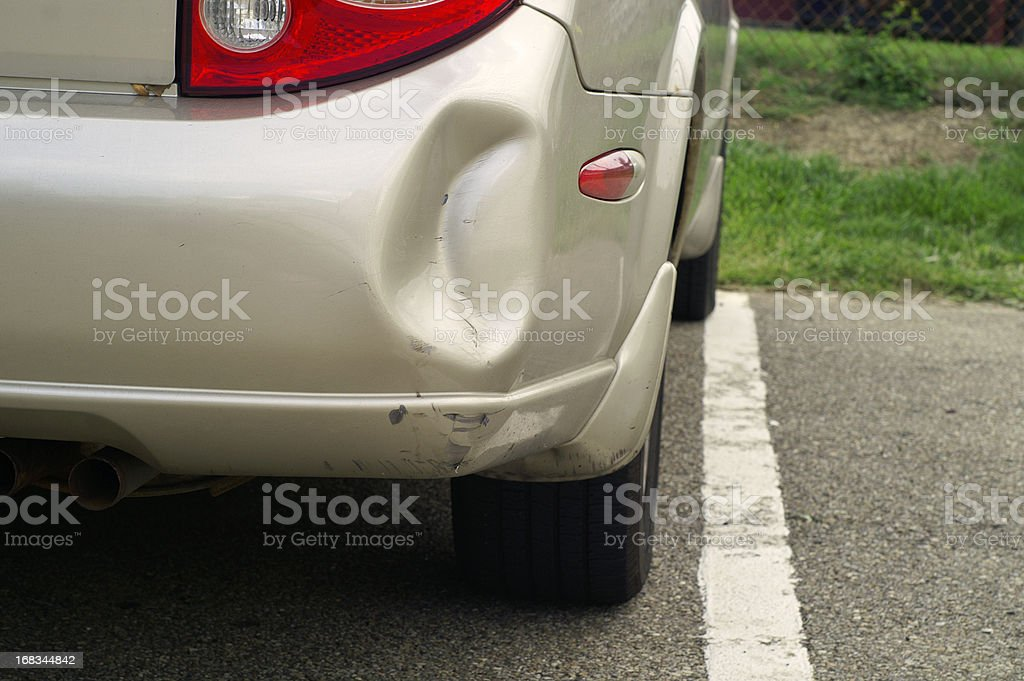 Dented Car Bumper stock photo