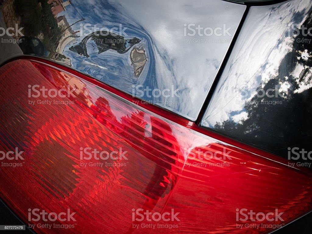Dented tailgate stock photo