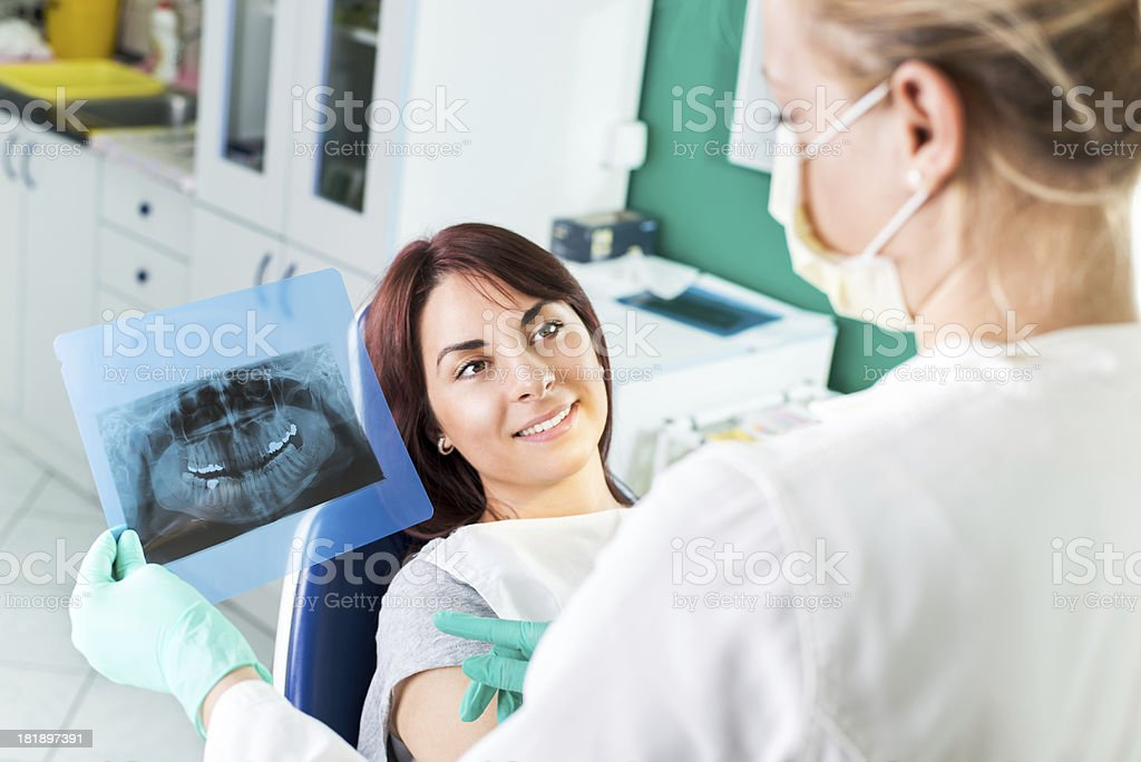 Dentist showing X-ray to the patients royalty-free stock photo