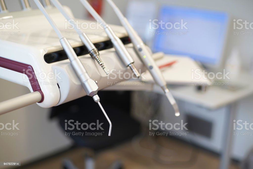 Dentist tools in a clinic stock photo