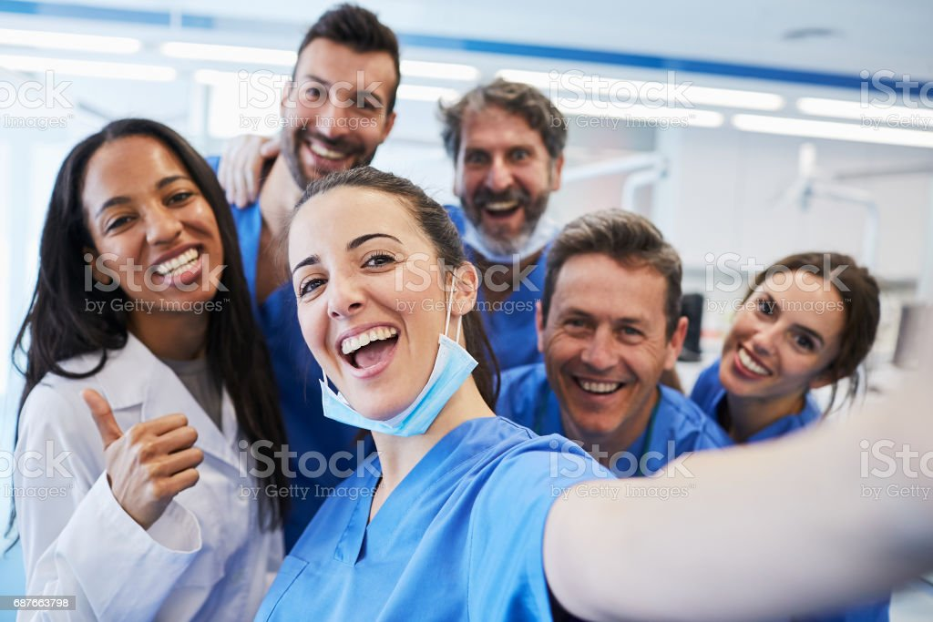 Dentist's office in Barcelona. Medical workers portrait. stock photo