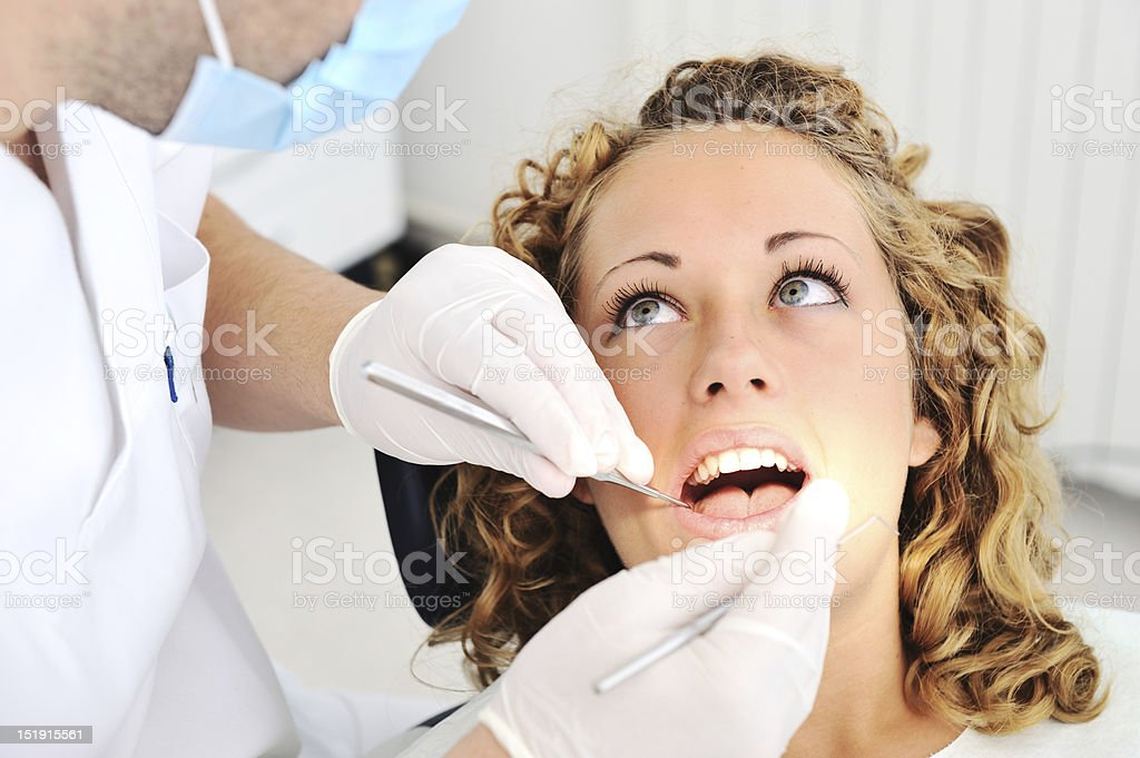 Dentist's teeth checkup, series of related photos stock photo