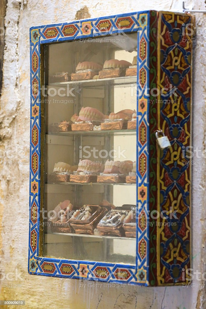 Dentures for sale in Morocco royalty-free stock photo