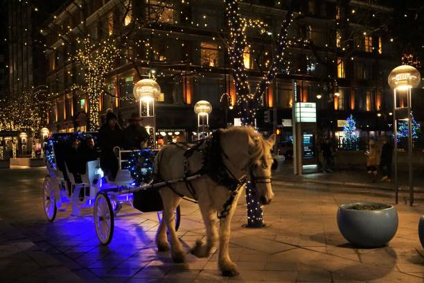 Denver, 16th St Mall horsedrawn carriage stock photo