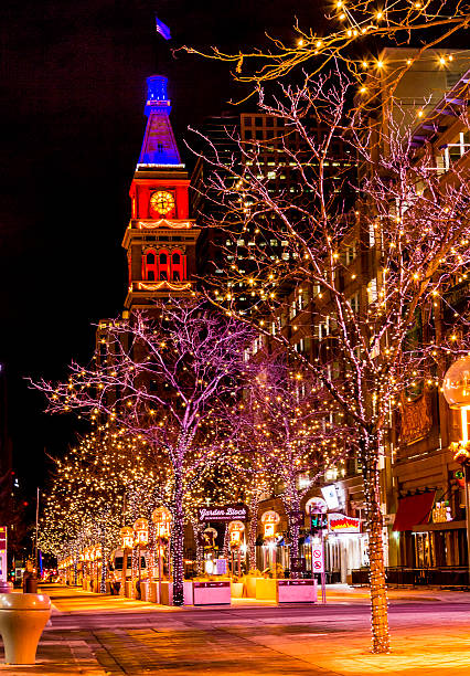Denver 16th Street Mall in Orange and Blue stock photo