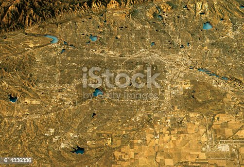 3D Render of a Topographic Map of Denver, South Platte River Valley, Colorado, USA.