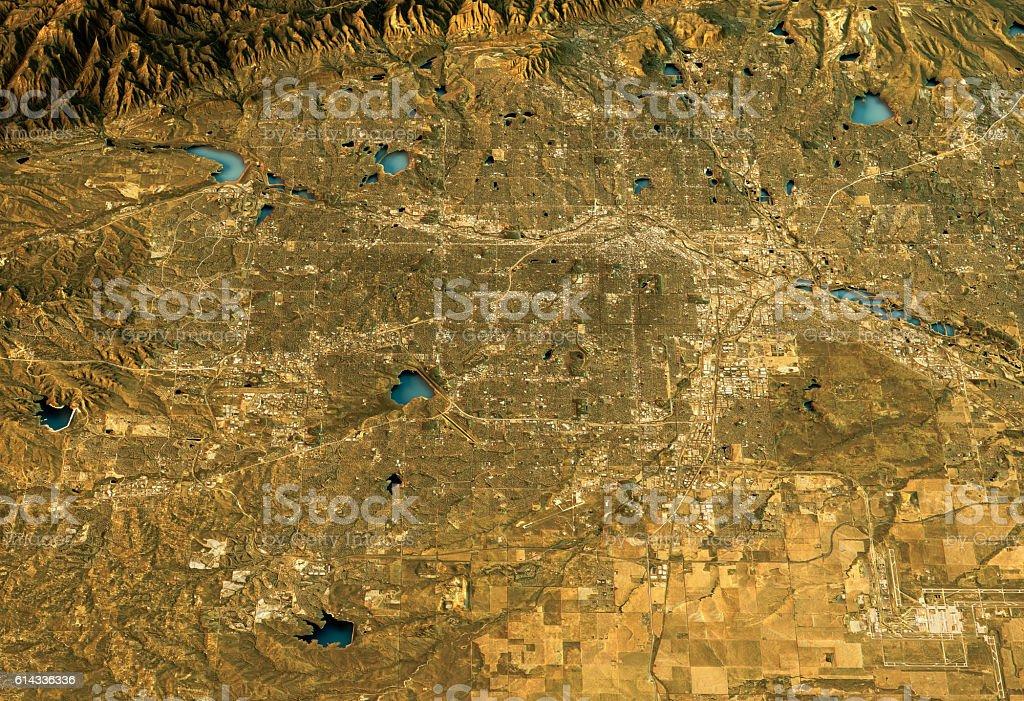 Denver 3D Landscape View East-West Natural Color stock photo