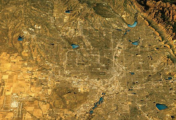 Denver 3D Landscape View North-South Natural Color stock photo