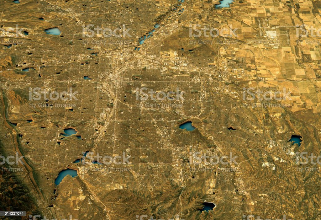Denver 3D Landscape View South-North Natural Color stock photo