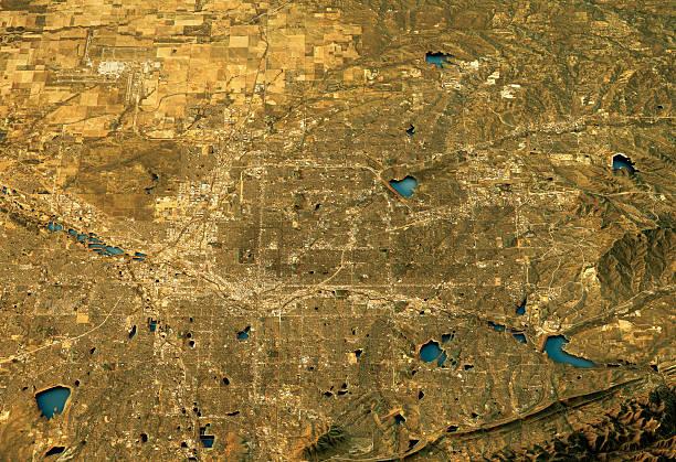 Denver 3D Landscape View West-East Natural Color stock photo
