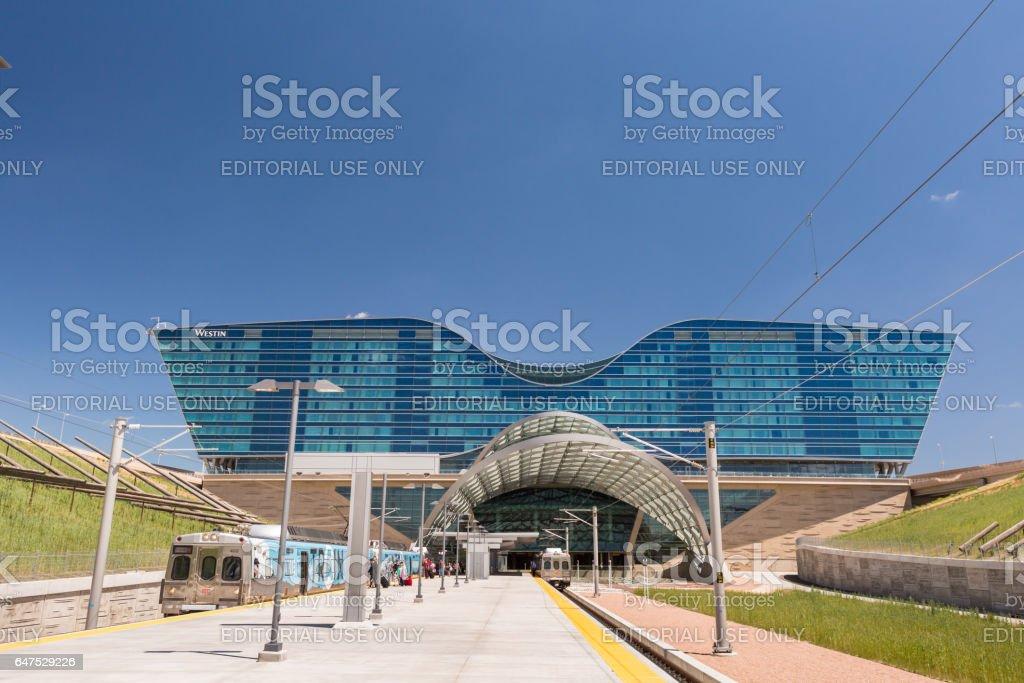 Denver Airport commuter rail station - foto de acervo
