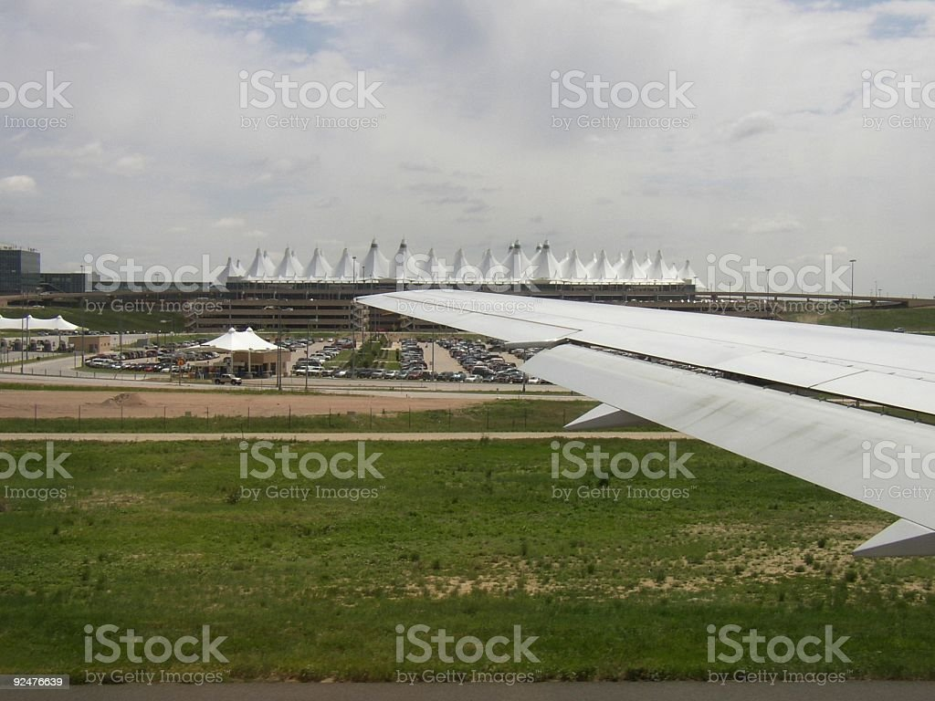 Denver airport from a plane royalty-free stock photo