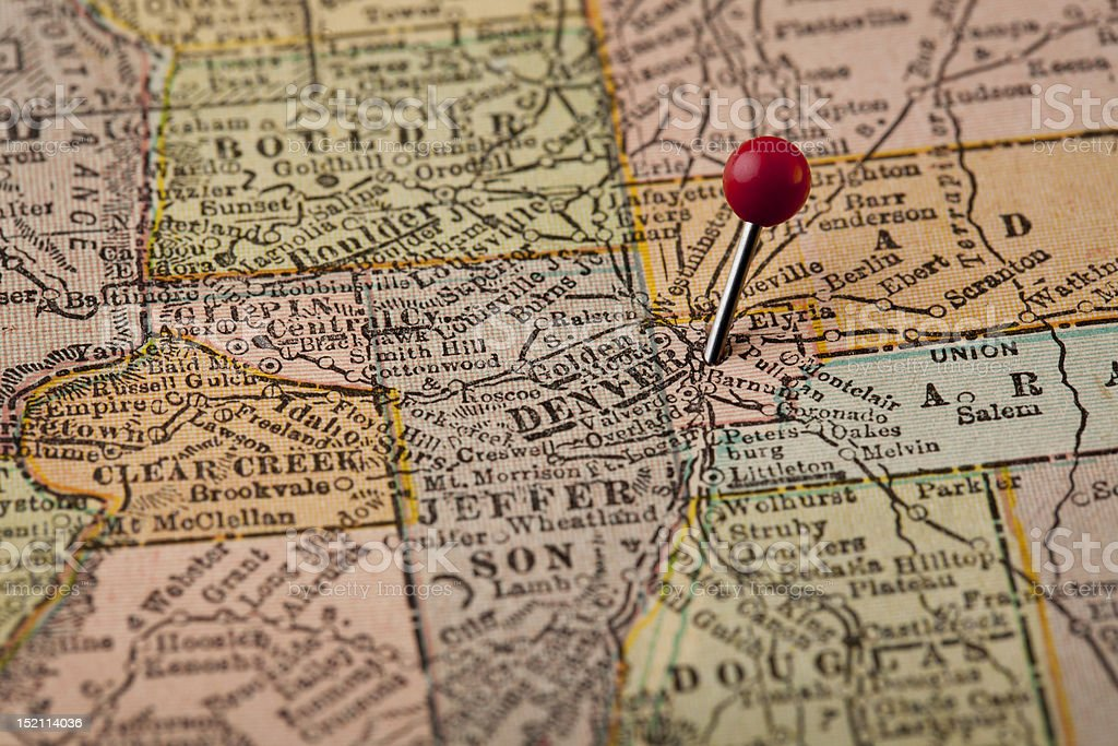 Denver and central Colorado map stock photo