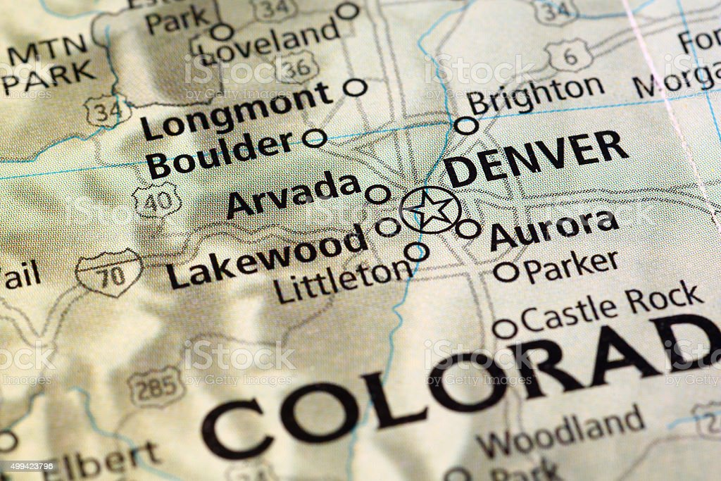 Denver area on a map stock photo