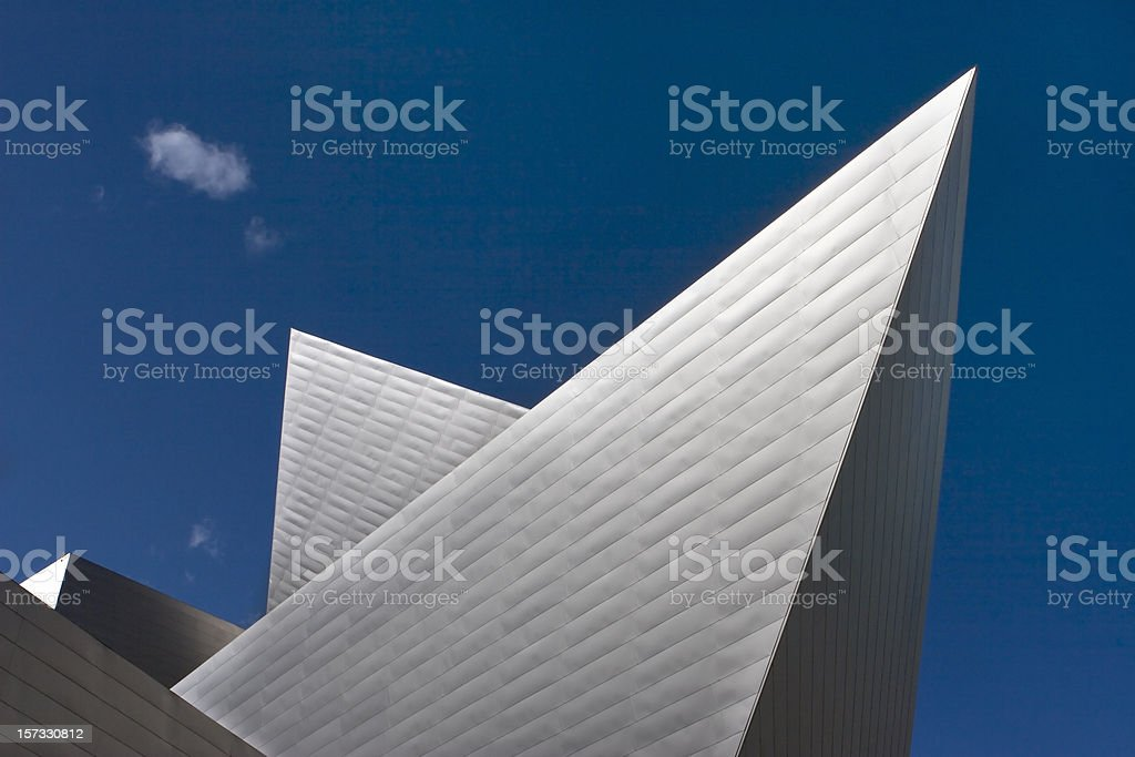 Denver Art Museum angled architecture with cloud stock photo