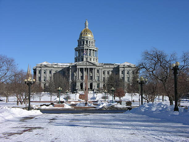 denver capital building - colorado state capitol stock photos and pictures