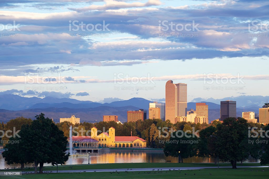 Denver city park and skyline with a cloudy sky royalty-free stock photo