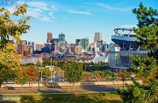 Denver Cityscape Colorado. Downtown Denver Skyline and the Mile High Stadium. Colorado, United States.