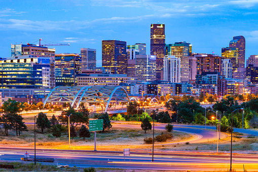 Downtown Denver, Colorado at night.