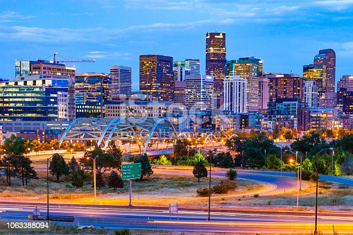 Downtown Denver, Colorado at night.