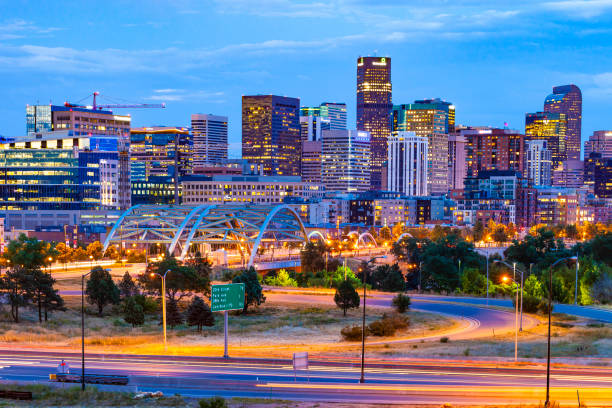 Denver, Colorado At Night stock photo