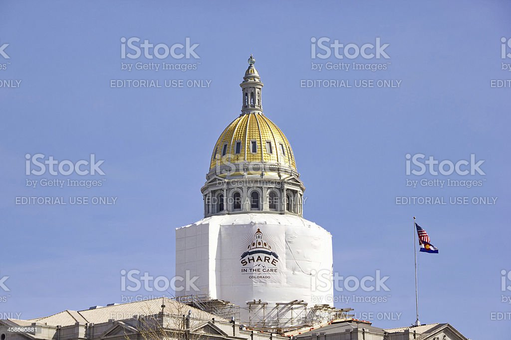 Denver, Colorado, Capitol Building Dome Restoration in progress. stock photo