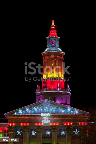 Denver Colorado City and County Building with Christmas Lights.  Colorful display of vibrant lights during holiday season.  Converted from 14-bit Raw file.  sRGB color space.
