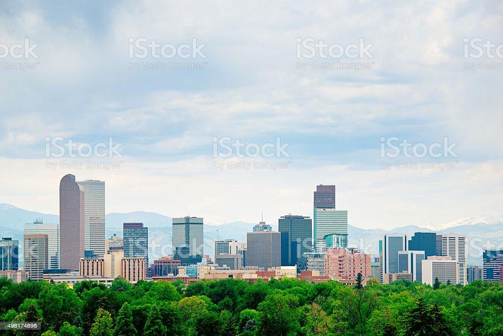 Denver Colorado City Park and Skyline stock photo
