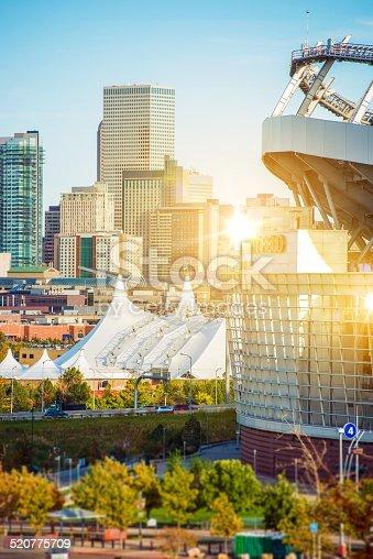 The Best of Denver Colorado. Famous Denver Mile High Stadium and Cityscape. Denver, United States.