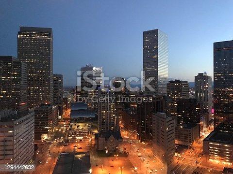 Denver, Colorado, Denver, Colorado, downtown city lights in the evening.