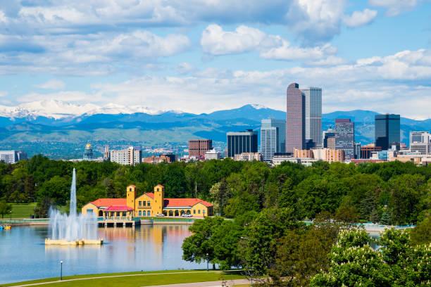 Denver Colorado Denver Colorado downtown with City Park denver stock pictures, royalty-free photos & images