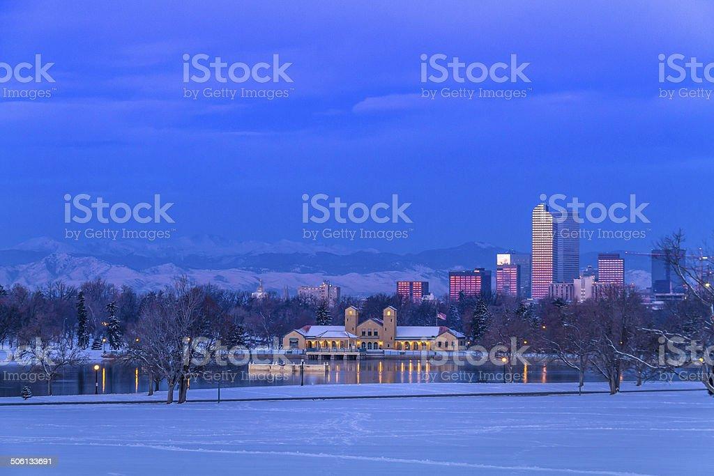 Denver Colorado Skyline in Snow Feb 2013 stock photo