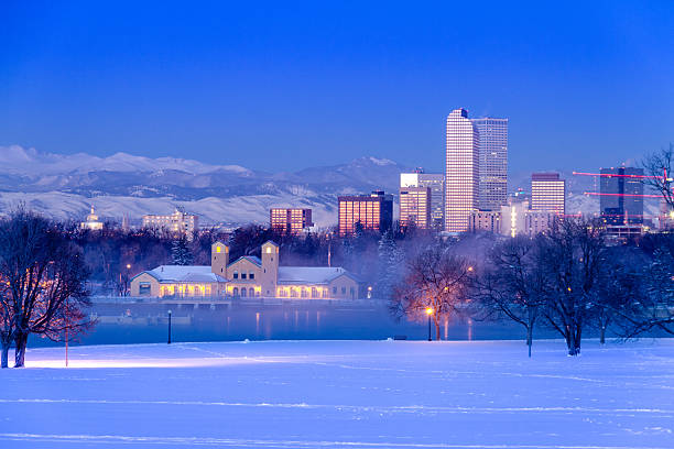 Denver Colorado Skyline in Snow Feb 2013 stock photo