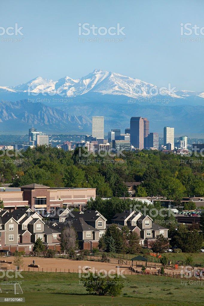 Denver Colorado skyscrapers condos Longs Peak Rocky Mountains stock photo