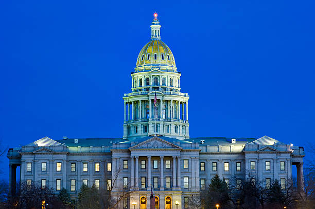 denver colorado state capitol building at dusk - colorado state capitol stock photos and pictures