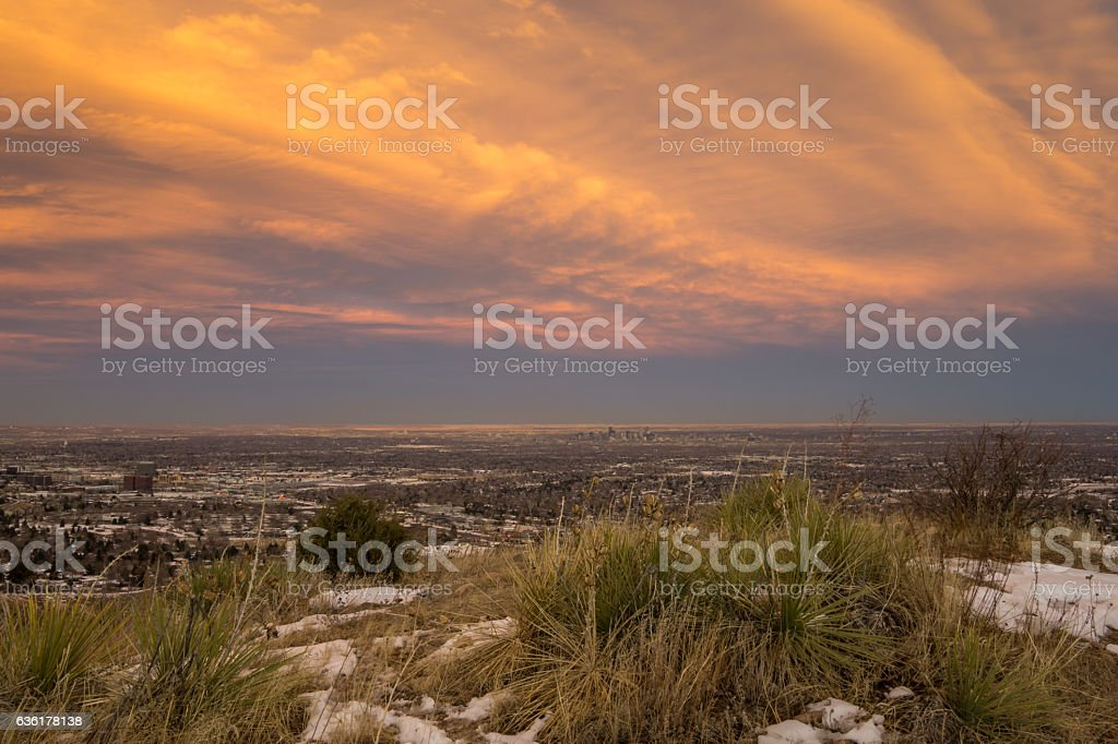 Denver, Colorado Sunset stock photo