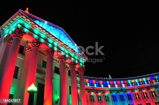 Denver, Colorado, USA: Denver City and County Building - Beaux-Arts Neoclassical style City Hall - Christmas illumination display - photo by M.Torres