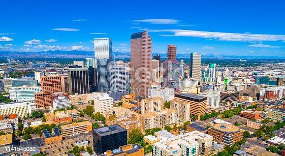 Panorama Denver Colorado USA skyline cityscape panoramic aerial drone view above Mile High City