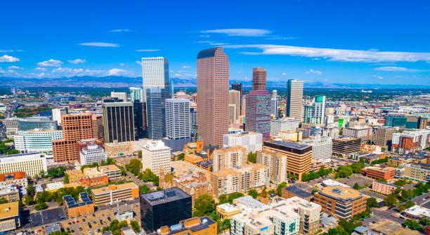 Denver Colorado USA skyline cityscape panoramic aerial drone view above Mile High City stock photo