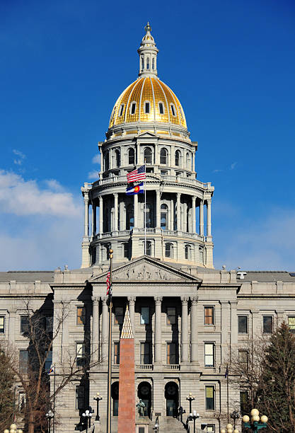 denver, colorado, usa: the gold domed colorado state capitol - colorado state capitol stock photos and pictures