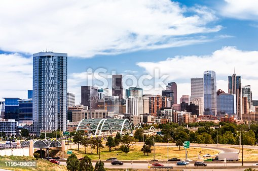 Denver, CO, Centenial garden and downtown financial (banking) district at the background.