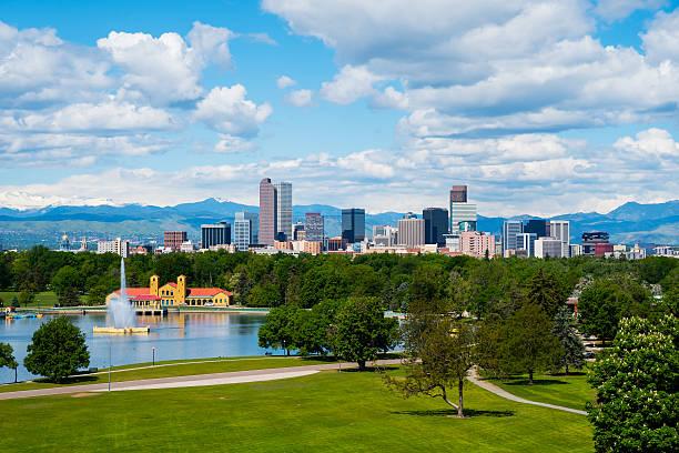 Denver downtown Denver Colorado downtown with City Park denver stock pictures, royalty-free photos & images