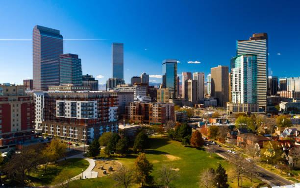 Denver Downtown Skyline Aerial w/ Park stock photo