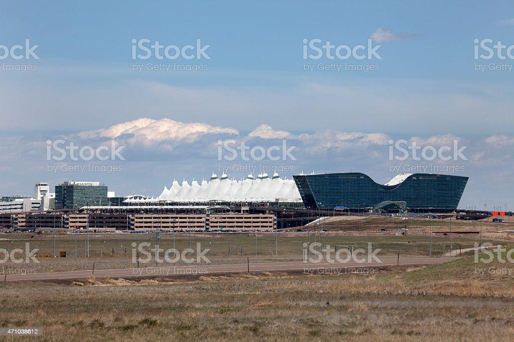 Denver International Airport and glass hotel Colorado stock photo